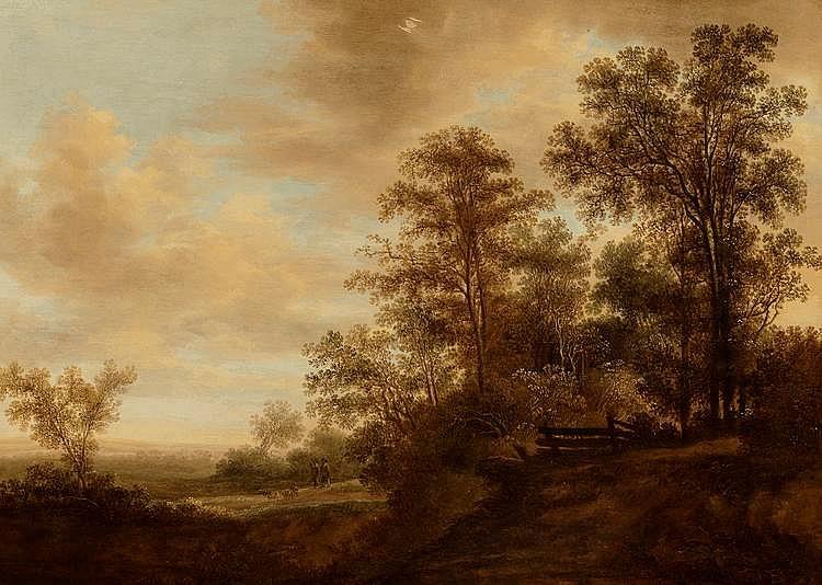 Ecole Hollandaise du XVIIIème, suiveur de Salomon Van RUISDAEL. . «deux chasseurs en bordure de la forêt». . Panneau de chêne, trois planches, renforcé. . 52 x 73 cm. . Porte un monogramme en bas à gauche S. R.. . Expert: R. MILLET