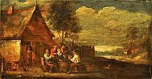 *Ecole Flamande XVIIIème, suiveur de David Teniers. «les joueurs de carte devant l'auberge». 11.7 x 21.8 cm