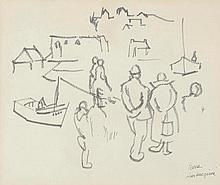 Pierre AMBROGIANI (1907-1985) . «Port animé». Feutre . Signé en bas à droite . 30 x 36 cm . Experts: OTTAVI - PELLISSON