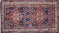 KHAMSEH (Perse, Région de Quasgai). Fin du 19ème siècle.. Fond bleu nuit à semis de médaillons géométriques, orné de deux larges médaillons crénelés rouge brique, à tortues stylisées, pierres de couleur et fleurs en polychromie. . 6 bordures dont la