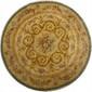 Tapis rond de la Savonnerie. Sur fond beige à torsades de fleurs. Diamètre 225cm
