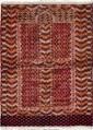 HATCHLOU-BOUKHARA Russe. 2ème partie du 20ème siècle. Forme prière à mirghab, champ brique à semis de chandeliers et peignes. Large bordure à feuillages et crochets.. 143x104cm