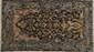 Fin GHOUM (Iran), laine et soie. Fond noir, laine kork, décor Chaabas. 275x160