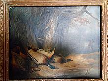 EUDE (école Française début XXème). «chasse aux canards». Toile signée et datée 1936 sur le châssis au dos. 33 x 39 cm