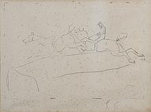 *PRINCETEAU René 1843 - 1914. «jockeys sur l'obstacle». Mine de plomb. Signé du timbre de l'atelier HL en rouge en bas à droite. (déchirures, pliures, rousseurs). 45 x 59.5 cm à vue sera inclus au catalogue raisonné par H DE WADRIGANT