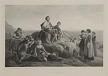 *Robert LEOPOLD. «l'improvisateur». «le pêcheur». «le moissonneur». «fête de la Madone de l'arc». Suite de quatre gravures noir et blanc imprimées par Lemercier. 50 x 67 cm. (vitres accidentées ou absentes)