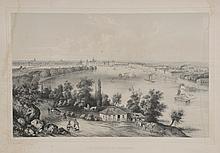 WALTER H (d'après). «vue générale de Bordeaux». Lithographie noir et blanc c/o Wild Editeur. (déchirures, mouillures). 37 x 55 cm