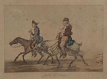 *VERNET Carle (d'après). «la route de Saint Cloud». «la route de Poissy». Deux gravures en couleur formant pendant. Cadres en pitchpin. 31 x 43.5 cm à vue