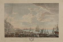 VERNET Joseph (d'après). «vue de la ville et du port de Bordeaux». Gravure couleur par Camus. 52 x 84 cm