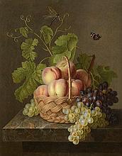 *BERJON Antoine (1754 - 1843) (attribué à). «panier de fruits et papillon». Panneau. 62.5 x 49.5 cm