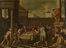 *Ecole Espagnole XVIIIème. «les noces de Cana». Toile. 102 x 139 cm