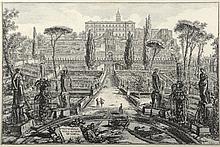 PIRANESE (d'après). «vue de la villa Estense à Tivoli». Gravure en noir et blanc