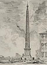 PIRANESE (d'après). «l'obélisque Egizio». Gravure en noir et blanc. 45 x 70 cm à vue