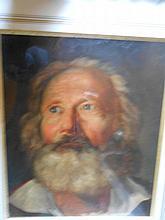 Ecole Française vers 1830. «portrait d'homme barbu». Papier. 31.5 x 26.5 cm. (petites restaurations)