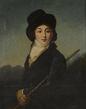 LANEUVILLE (suiveur de). «portrait d'une écuyère». Toile. 74 x 60 cm