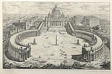 PIRANESE (d'après). «Saint Pierre de Rome». Gravure en noir et blanc. 47 x 70 cm à vue
