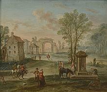 Ecole FRANCAISE VERS 1760. «Paysage aux promeneurs près d'une fontaine». Toile. 50 x 60 cm. Expert: R. MILLET