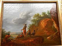 Ecole Française de la fin du XVIIIème. «la halte des soldats». Sur sa toile d'origine. 32.5 x 41 cm