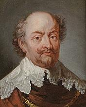 *Ecole Française XVIIIème. «portrait d'homme à la collerette». Panneau. 14 x 11.3 cm