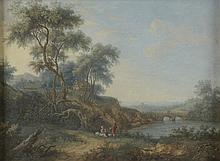 *Ecole Française XVIIIème. «paysage animé». Gouache. 15 x 20 cm à vue