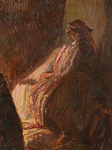 *GUILLAUMET Eodu. «le mariage arabe». Panneau légendé au dos. 35 x 27 cm. Provenance: vente de l'atelier
