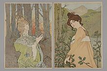 *ATCHE Jane (1880 -?). «deux jeunes femmes dans un paysage». Deux lithographies couleur non signées. (petite déchirure à gauche sur l'une)