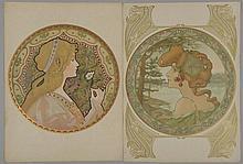 *ATCHE Jane (1880 -?). «deux jeunes femmes en buste». 52.5 x 38 cm. Deux lithographies couleur. L'une signée