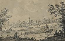 *Stag Muller. «paysages animés». Deux Plumes et lavis formant pendant. Une signée au centre. 27 x 41.5 cm