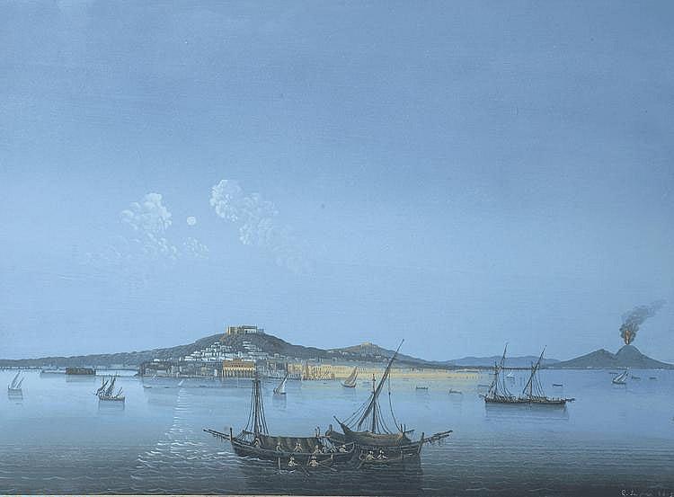 Ecole Italienne. « vue de Naples la nuit ». Gouache portant une signature G Le Pira 1801 en bas à droite. 38 x51.5 cm à vue