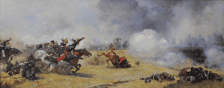 CHARTIER Henri Georges (1859 1924) « la charge de cavalerie, guerre de 70 » Toile signée en bas à gauche et datée 1899 50x125 cm (petit accident)
