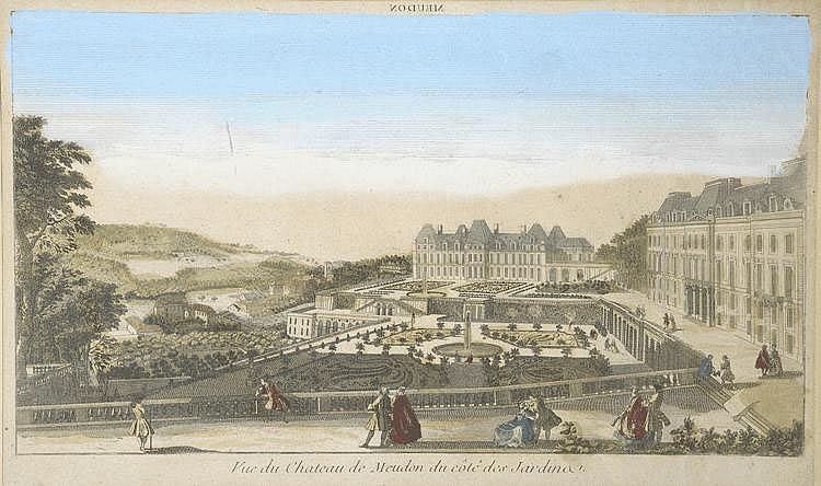 « Vue du château de Meudon du côté des jardins ». Vue d'optique en couleur. 23.5 x 39 cm à vue