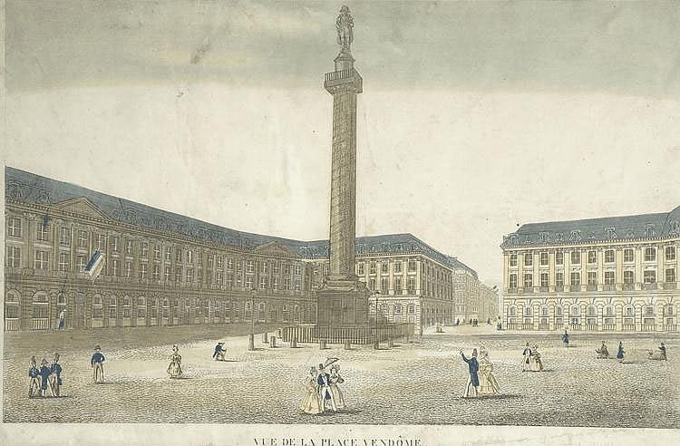 « vue de la place Vendôme ». Vue d'optique en couleur. 26 x 40 cm à vue