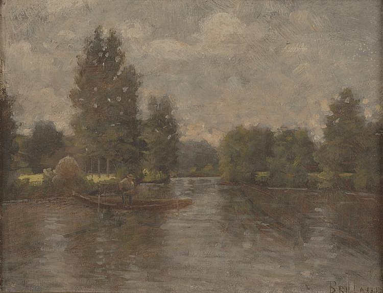 BRILLAUD. «Pêcheur sur la barque». Toile signée en bas à droite. 20 X 25. /18