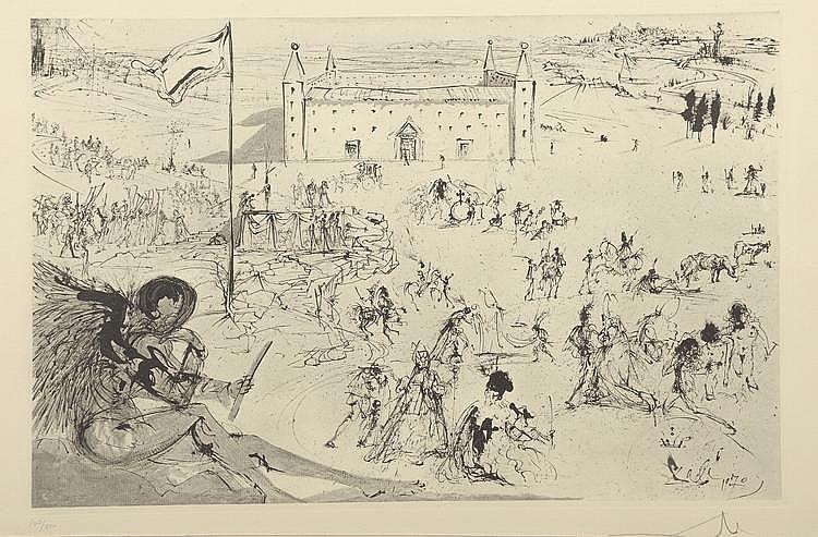 DALI (d'après). «Personnages devant le château». Lithographie noir & blanc n°107/350, signée en bas à droite au crayon. 49 X 69 à vue.