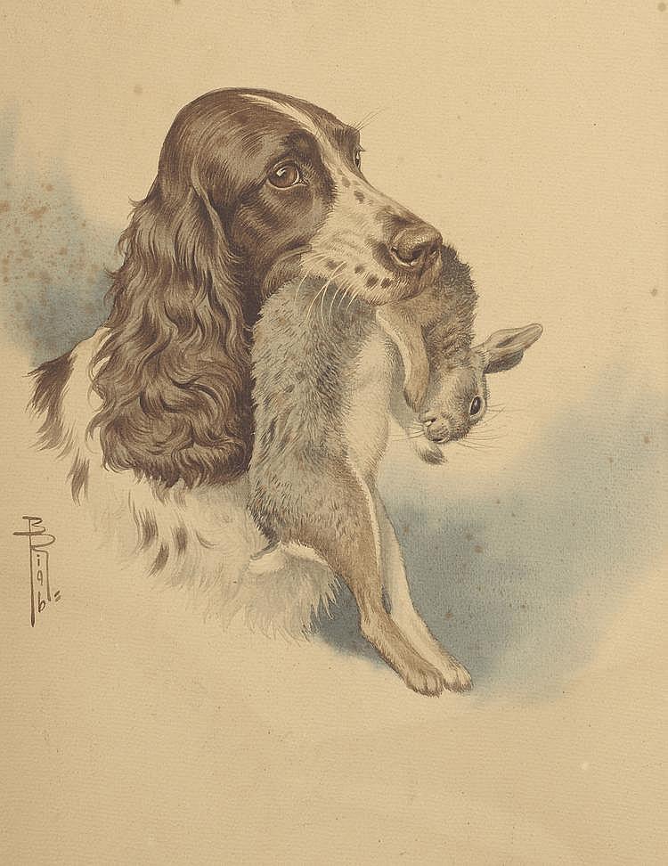 Boris RIABOUCHINSKY dit Riab (1898-1975). «Cocker tenant un lapin». Aquarelle signée en bas à gauche. 42 X 34.