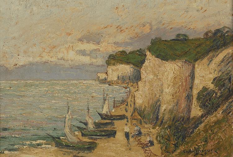 BEYSSE Émile. «La côte rocheuse animée». Panneau signé en bas à droite. 38 X 55.