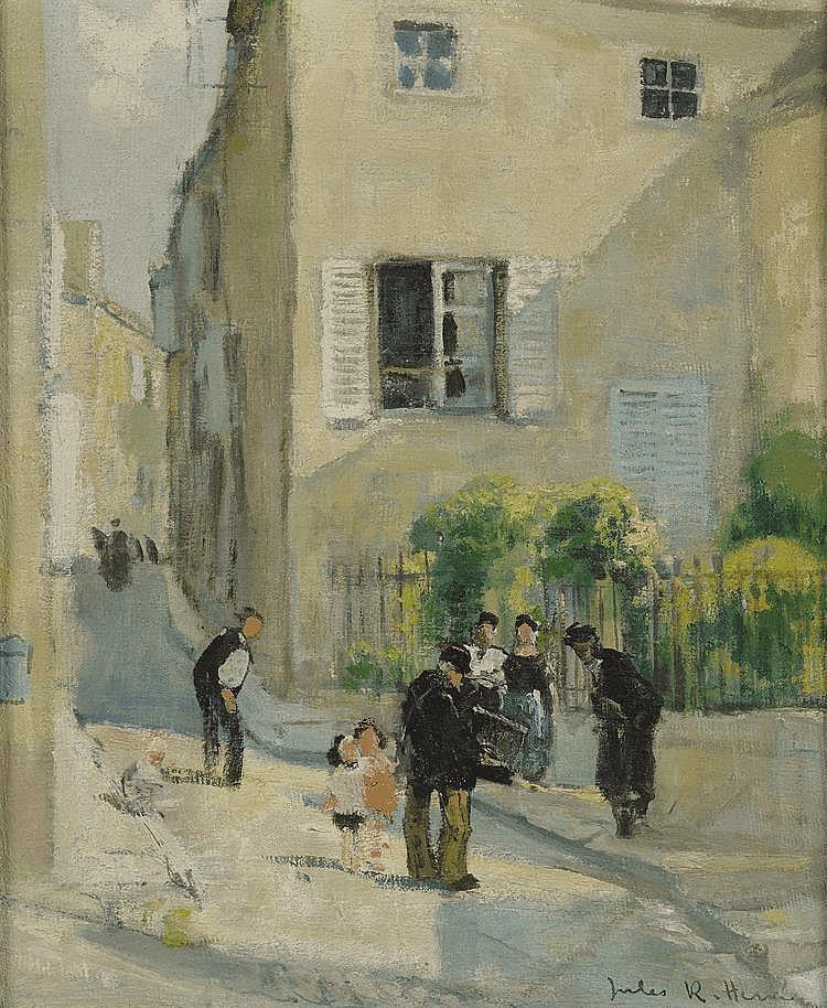 HERVE JULES B. (1887 - 1981). «Le facteur». Toile signée en bas à droite. 46 X 39.
