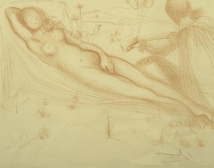 DALI (d'après). «Nu féminin allongé». . Lithographie, épreuve d'artiste signée en bas à droite au crayon. 49 X 61. (Pliures).
