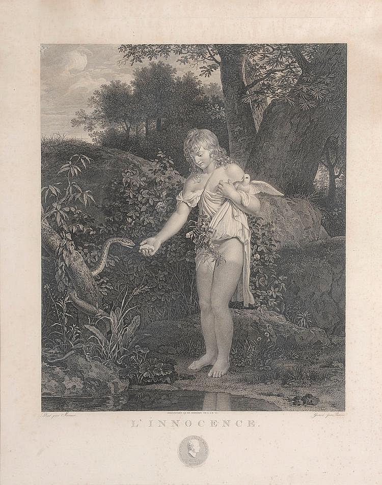 Mérimée (d'après). «l'innocence». Gravure en noir et blanc. 59x47 cm à vue. /216