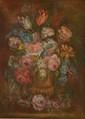 L. CHENIER. (Actif au XXème siècle). «Vase de fleurs sur un entablement». Sur sa toile d'origine. 62 x 38,5 cm. Signé en bas à droite L. Chenier. Expert: R. MILLET. /4