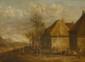 Ecole Flamande XVIIIème (suite de TENIERS). «scène villageoise». Toile. 34 x 47 cm. (restaurations)