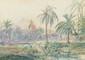 M DE JUILLY. « Paysage brésilien». Aquarelle. 24.5 x 35 à vue. (petites rousseurs)
