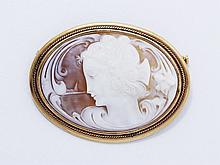 Broche ovale en métal doré, ornée d'un camée coquille figurant un profil de femme coiffée sur fond marin.. Dim: 5.8 x 4.4 cm.