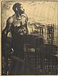 STEINLEN. «le mineur». Affiche en noir et blanc marouflée sur carton. (traces de scotch, petit manque en haut à gauche). 84.5 x 116 cm