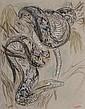 Gustave GUETANT (1873-c.1961). Serpent enroulé. Technique mixte sur papier, signé en bas à gauche. 67 x 52 cm à vue