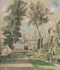André DIGNIMONT (1891-1965) . Vue de village Gouache sur papier, signé en bas à gauche . 53,5 x 44, 5 cm. /E