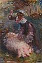 BERNE DETHCOURT (XIX-XX). La gardienne de cochon. Huile sur toile, signée en bas à droite. 55,5 x 38 cm