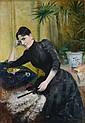 Charles BOUTET DE MONVEL (né en 1855). Elegante à l'eventail. Huile sur toile, signée et datée en bas à droite . 130 x 89 cm