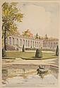 H.SABATTIER (XX). Versailles, Le Trianon . Gravure en couleur. 30 x 21 cm à vue