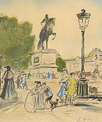 Édouard-Jacques DUFEU (1840-1900). Vue de Paris, Pont Neuf. Aquarelle sur papier, signé en bas à droite. 25,5 x 21,7 cm à vue